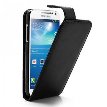 Koženkové pouzdro Flip - Černé - Galaxy S4 Mini i9190