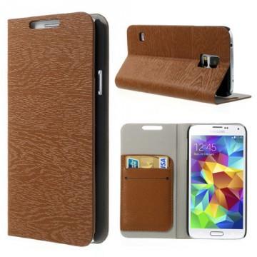"""Pouzdro Wallet """"Stromová kůra"""" - Hnědé - Galaxy S5"""