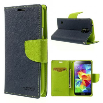 Pouzdro Fancy Diary Galaxy S5 i9600 - modré-zelené