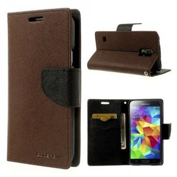 Pouzdro Fancy Diary - Galaxy S5 i9600 - hnědé-černé
