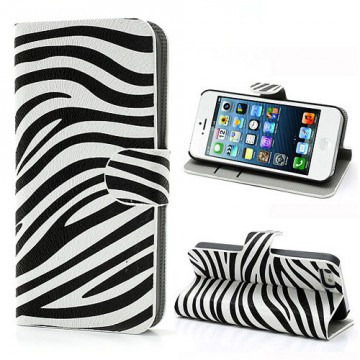 Koženkové pouzdro Wallet - iPhone 5/5S - Zebra