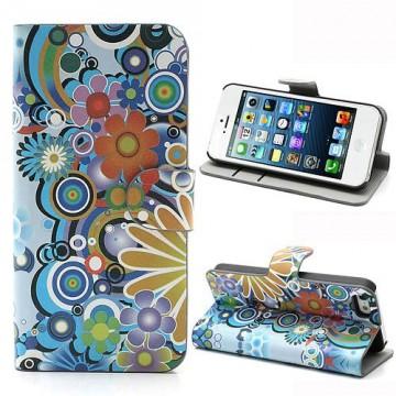 Koženkové pouzdro Wallet - iPhone 5/5S - Květy 02