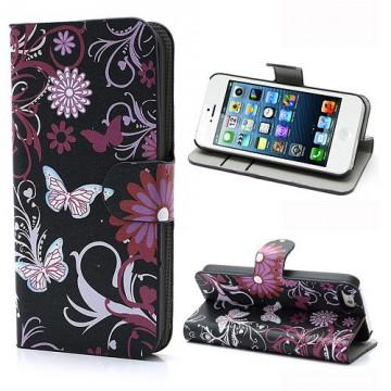 Koženkové pouzdro Wallet - iPhone 5/5S - Motýli 01