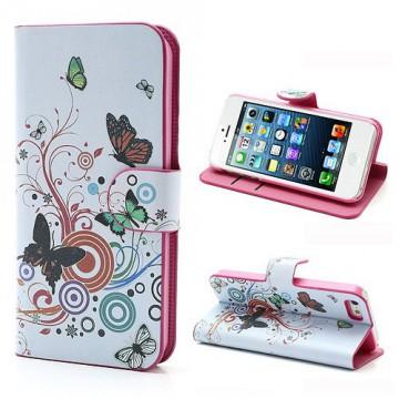Koženkové pouzdro Wallet - iPhone 5/5S - Motýli 02