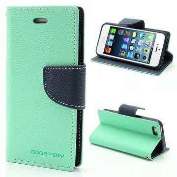 Pouzdro Wallet - iPhone 5/5S - tyrkysové/tmavě modré