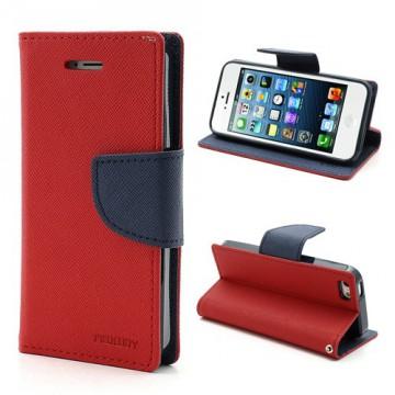 Pouzdro Wallet - iPhone 5/5S - červené/tmavě modré