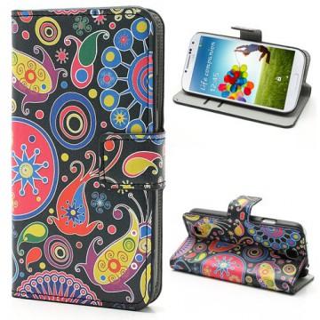 Koženkové pouzdro Wallet - Květy 04 - Galaxy S4 i9500