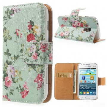 Koženkové pouzdro Wallet - Květy 09 - Galaxy Trend S7560-Trend Plus S7580-S Duos S7562-S Duos 2 S7582