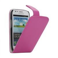 Koženkové pouzdro Flip - Růžové - Galaxy S3 Mini i8190
