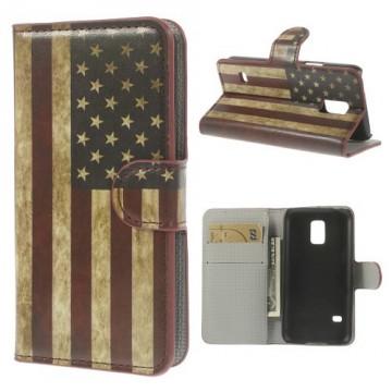 Koženkové pouzdro Wallet - Galaxy S5 Mini G800 - Vlajka USA Vintage