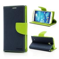 Koženkové pouzdro Wallet - Galaxy S4 i9500 - tmavě modré/zelené
