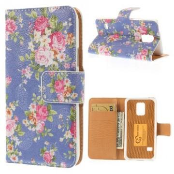 Koženkové pouzdro Wallet - Galaxy S5 Mini G800 - Květy 06