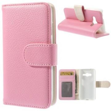 Koženkové pouzdro Wallet - Růžové - Galaxy G313