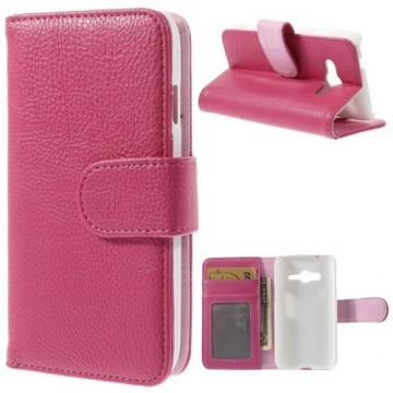 Koženkové pouzdro Wallet - Fuchsia - Galaxy G313