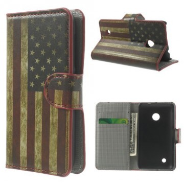 Koženkové pouzdro - Vlajka USA Vintage - Lumia 530
