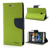 Koženkové pouzdro Wallet HTC One - zelené/modré