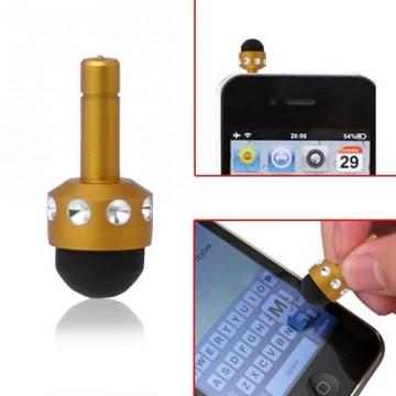 Ozdoba na mobil se stylusem - zlatá s kamínky