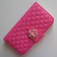 Koženkové pouzdro Wallet - Galaxy S4 i9500 - Fuchsia s barevnou růží
