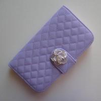 Koženkové pouzdro Wallet - Galaxy S4 i9500 - Fialové s barevnou růží