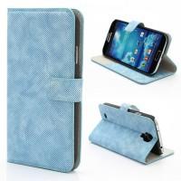 Koženkové pouzdro Wallet - Galaxy S4 i9500 - modré
