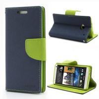Koženkové pouzdro Wallet HTC One - tmavě modré/zelené