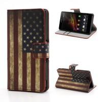 Koženkové pouzdro Wallet - Vlajka USA Vintage - Xperia Z