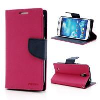 Koženkové pouzdro Wallet - Galaxy S4 i9500 - červené/tmavě modré