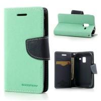 Koženkové pouzdro Wallet - Galaxy Ace 2 i8160 - tyrkysové/tmavě modré