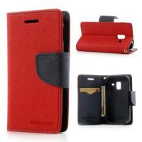 Koženkové pouzdro Wallet - Galaxy Ace 2 i8160 - červené/tmavě modré