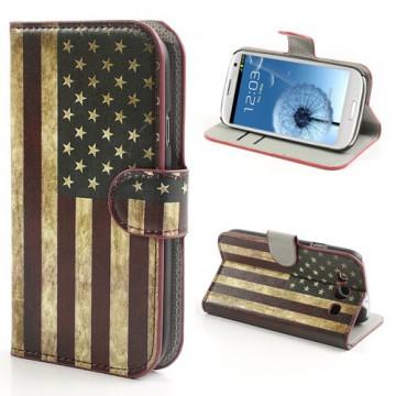 Koženkové pouzdro Wallet - Vlajka USA Vintage - Galaxy S3 i9300, i9301