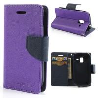 Koženkové pouzdro Wallet - Galaxy Ace 2 i8160 - fialové/tmavě modré