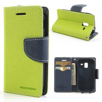Koženkové pouzdro Wallet - Galaxy Ace 2 i8160 - zelené/tmavě modré