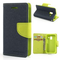 Koženkové pouzdro Wallet - Galaxy Ace 2 i8160 - tmavě modré/zelené
