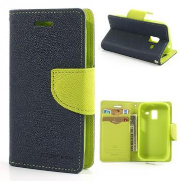 Pouzdro Fancy Diary - Galaxy Ace 2 i8160 - tmavě modré/zelené