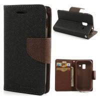 Koženkové pouzdro Wallet - Galaxy Ace 2 i8160 - černé/hnědé