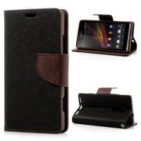 Pouzdro Wallet - Xperia SP - černé/hnědé