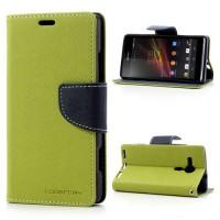 Pouzdro Wallet - Xperia SP - zelené/tmavě modré