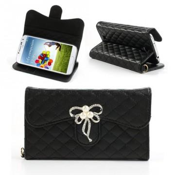 Koženkové pouzdro Wallet - Galaxy S4 i9500 - Černé s mašlí a kamínky