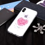 Gelový obal iPhone X - průhledný - Srdce