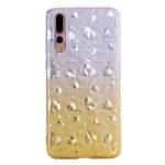 Gelový obal Huawei P20 Pro - třpytivá srdíčka -zlaté