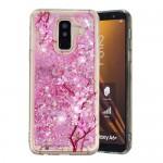 Obal Galaxy A6+ 2018 - tekuté třpytky - Květy