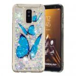 Obal Galaxy A6+ 2018 - tekuté třpytky - Motýli
