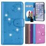 Koženkové pouzdro iPhone 7, iPhone 8 - Modré s motýly a kamínky