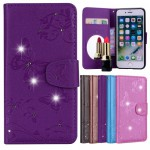 Koženkové pouzdro iPhone 7, iPhone 8 - Fialové s motýly a kamínky