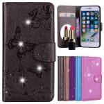 Koženkové pouzdro iPhone 7, iPhone 8 - Šedé s motýly a kamínky