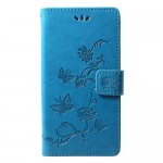 Pouzdro Honor 8A - modré květy a motýli
