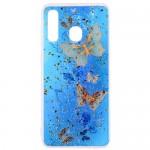 Pouzdro / Obal Galaxy A50 - Průhledné - Motýli 01 - třpytky