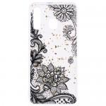 Pouzdro / Obal Galaxy A50 - Průhledné - Květy 01 - třpytky