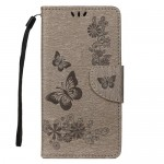Pouzdro Galaxy A40 - Květy a motýli - šedé 02