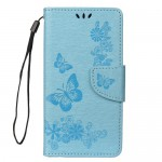 Pouzdro Galaxy A40 - Květy a motýli - modré 02